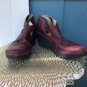 Fly London Wine Leather Comfort Wedges
